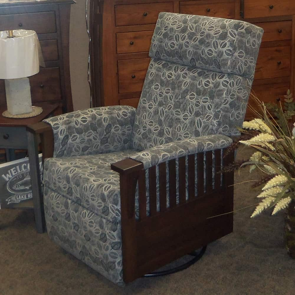 Swivel Glider Recliner wfabric covered arms  Amish Oak