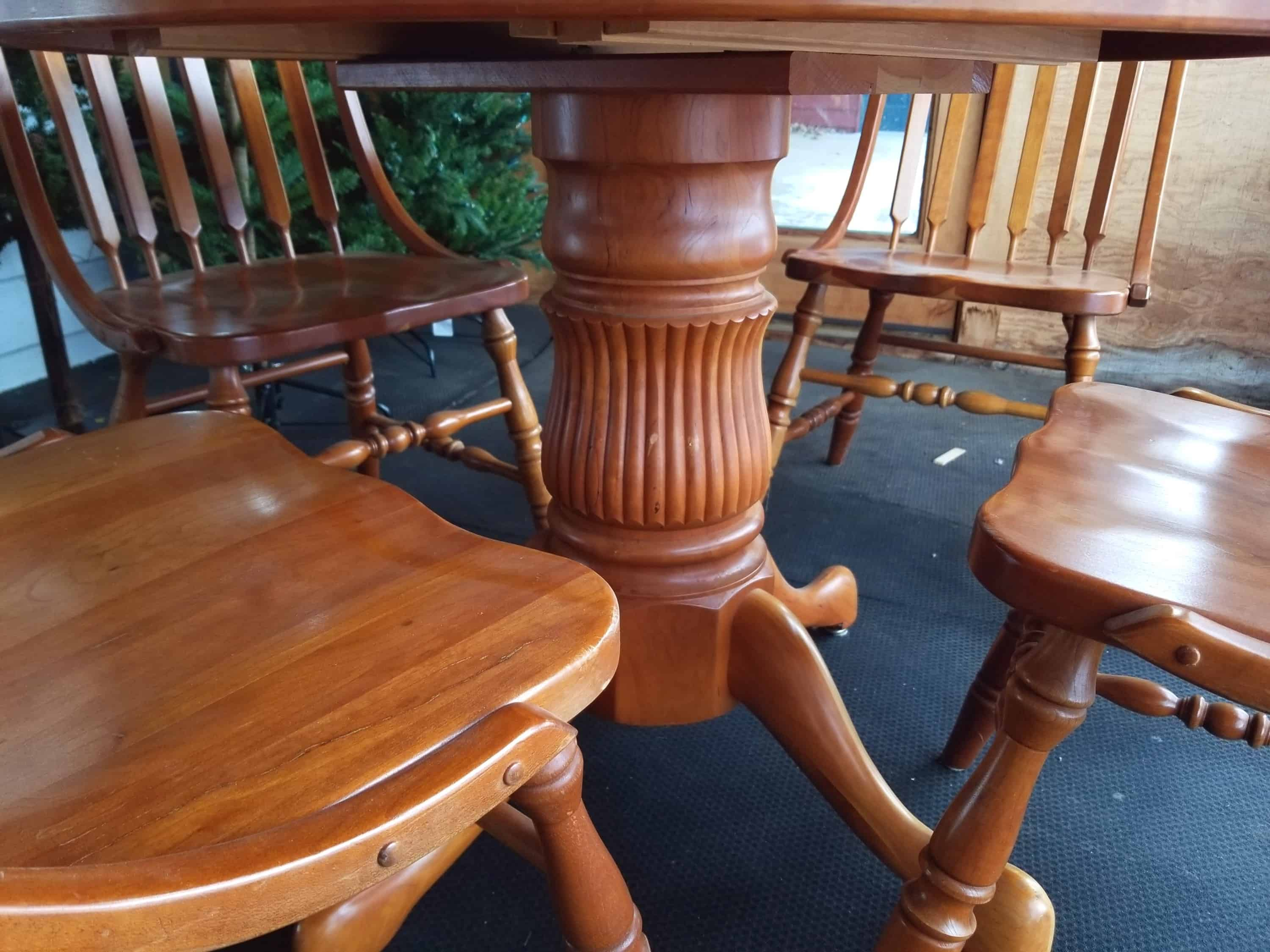 Gently Used Dining Set Shown in Rustic Cherry  Amish Oak