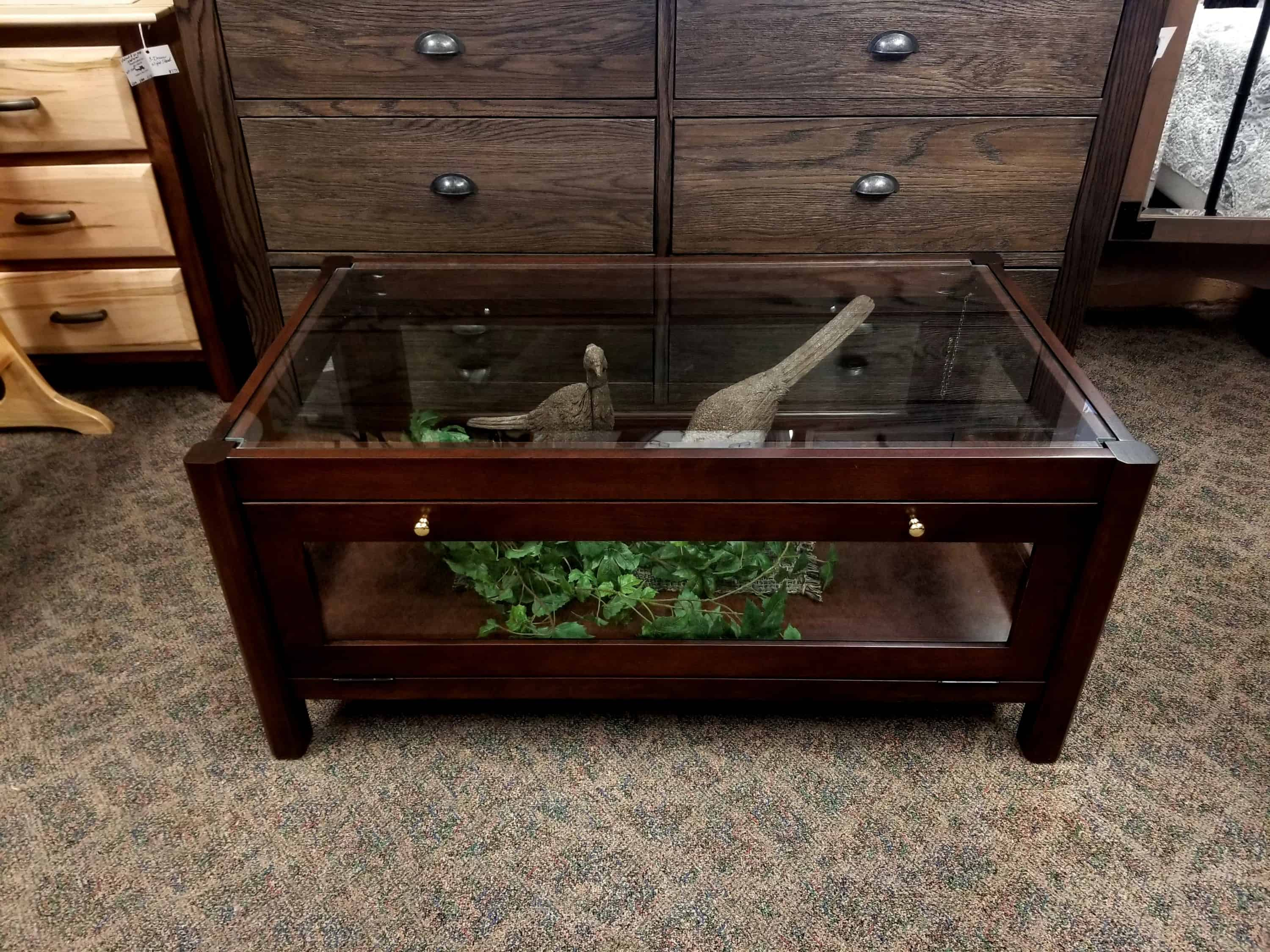 coffee table display case shown in sap cherry with an coffee stain