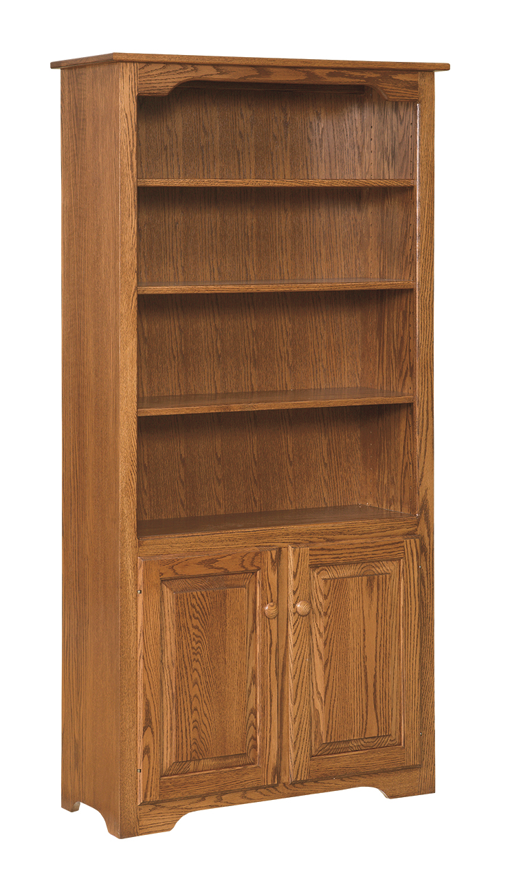 6 Bookcase with Doors on Bottom Only  Amish Furniture