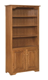 6' Bookcase with Doors on Bottom Only - Amish Furniture ...