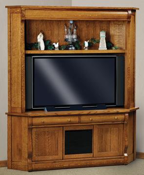 Old Classic 69 3 Drawer 2 Door Corner TV Center  Amish Furniture Factory  Amish Furniture Factory