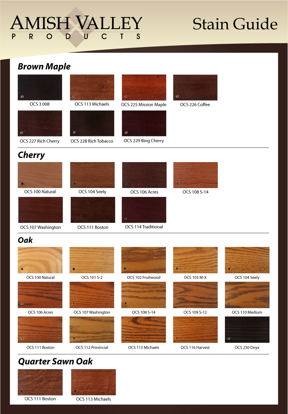 Stain Samples Amish Valley Products