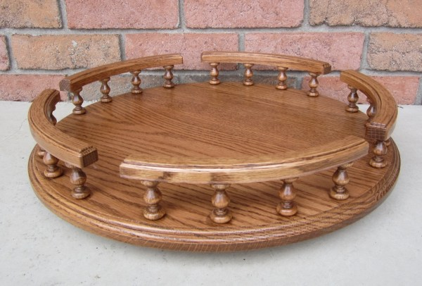 Amish Handcrafted Oak Lazy Susan Available in 3 sizes