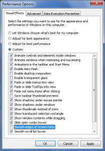 Windows7 Performance Settings