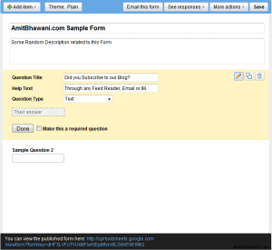 Google Docs Sample Form