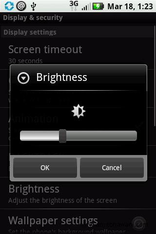 Samsung Galaxy S Display Brightness
