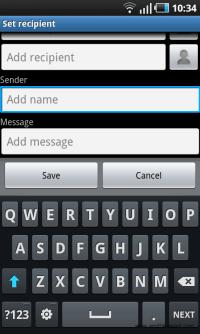 Galaxy S mobile tracker sender info