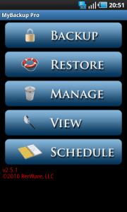 Backup data and Applications of Android phone – MyBackup Pro