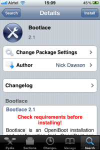 Bootlace App Details Cydia