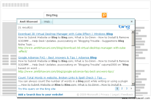 Bing Box – Add Bing Search Box to your Website or Blog