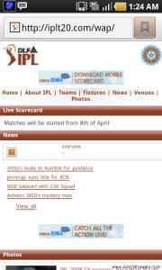 IPL T20 Mobile site