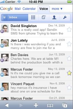 Google Voice Inbox (courtesy TechCrunch)