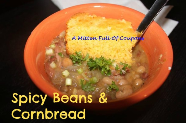 spicy beans and cornbread