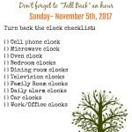 Daylight Savings Time Printable Checklist