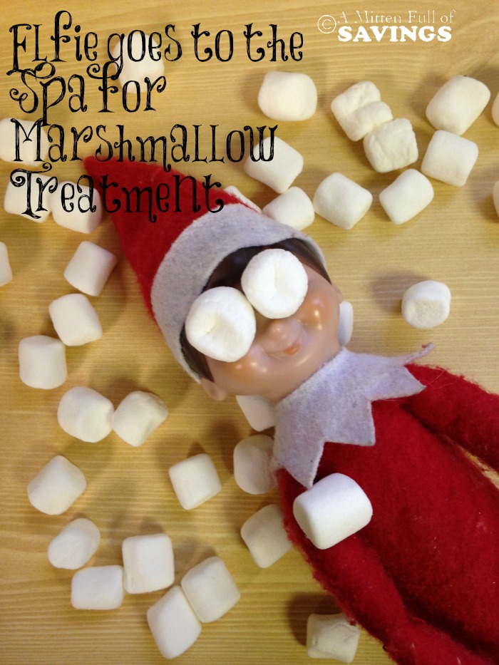 Elfie goes to the Spa for Marshmallow Treatment