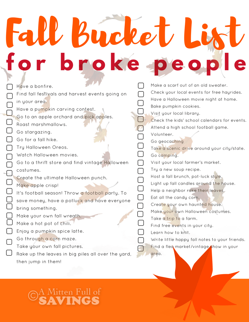 Fall Bucket List Ideas For Broke People 100 Walmart