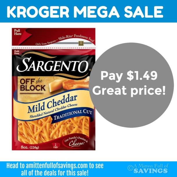 Kroger MEGA sale on Sargento Cheese