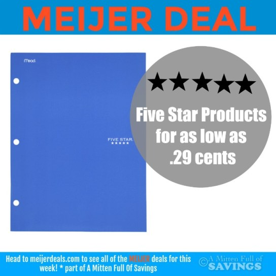 Meijer Five Star Back To School Supplies As Low As 29 Cents A