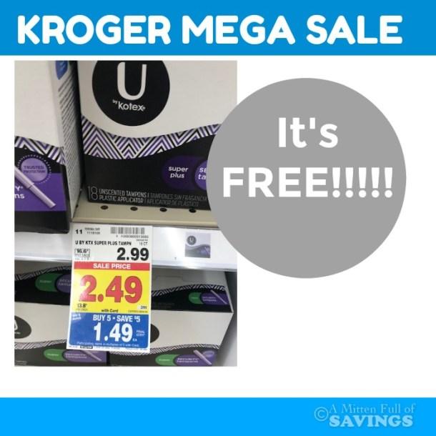 FREE Kotex products w/ the Kroger MEGA sale