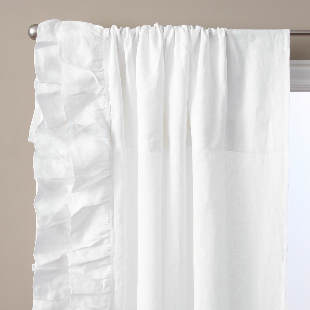 BASILLO LINEN WHITE LINEN CURTAINS, WHITE PAIR, 96\