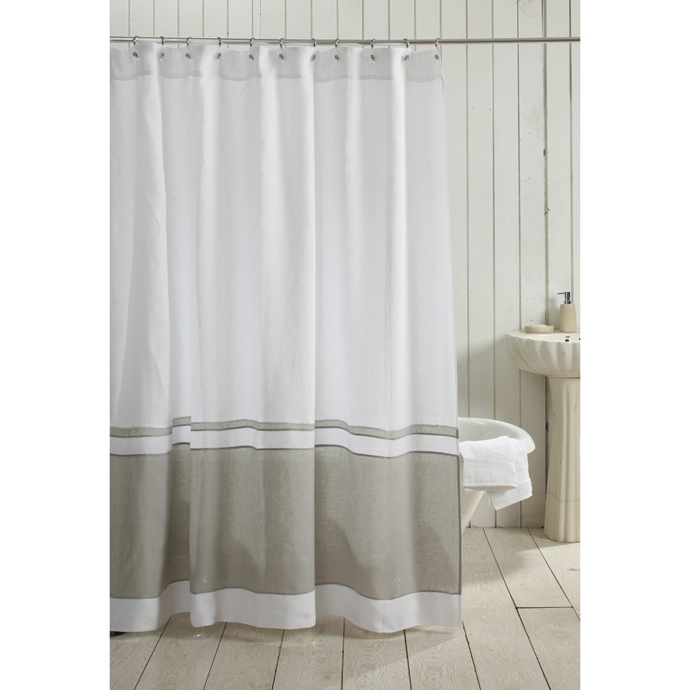 orfeo linen shower curtain white grey