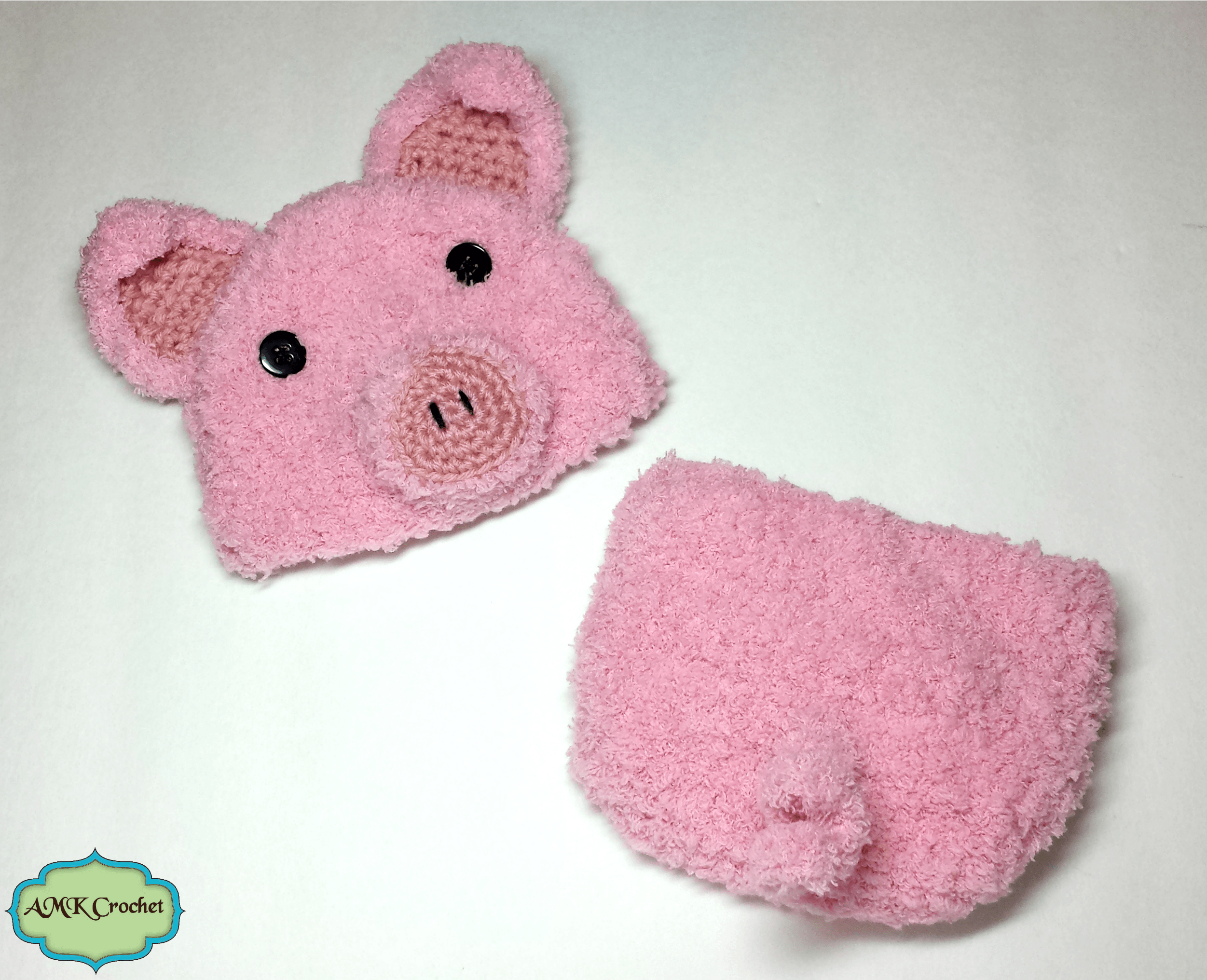 Piglet Amigurumi Free Pattern : Crochet newborn baby piglet hat and diaper cover set photo prop