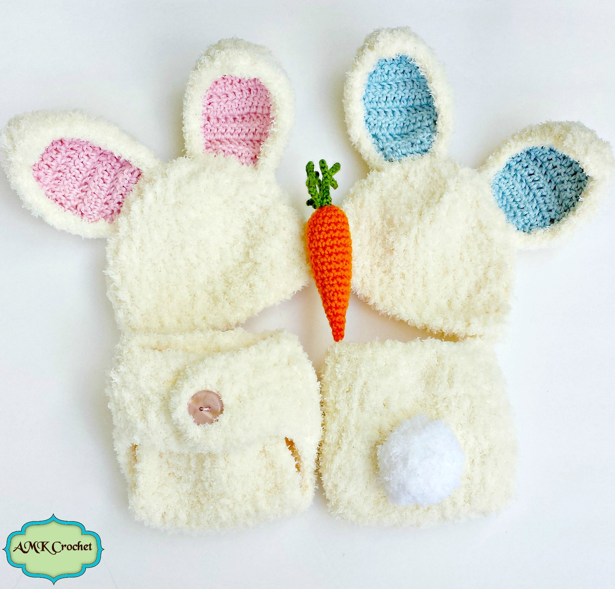 Crochet Newborn Fuzzy Bunny Hat and Diaper Cover Set with Amigurumi ...