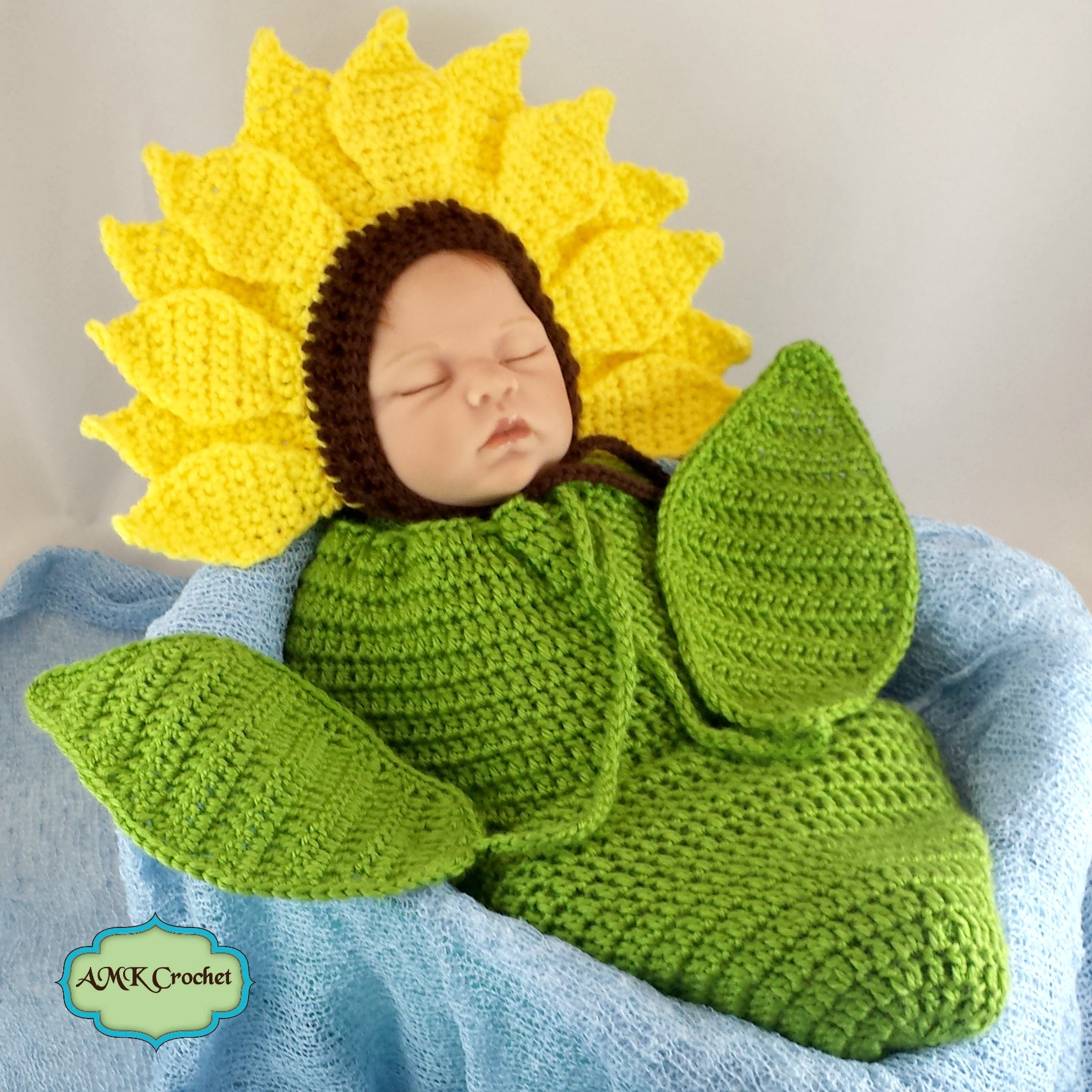 Crochet Newborn Sunflower Photo Prop Pattern | AMK Crochet