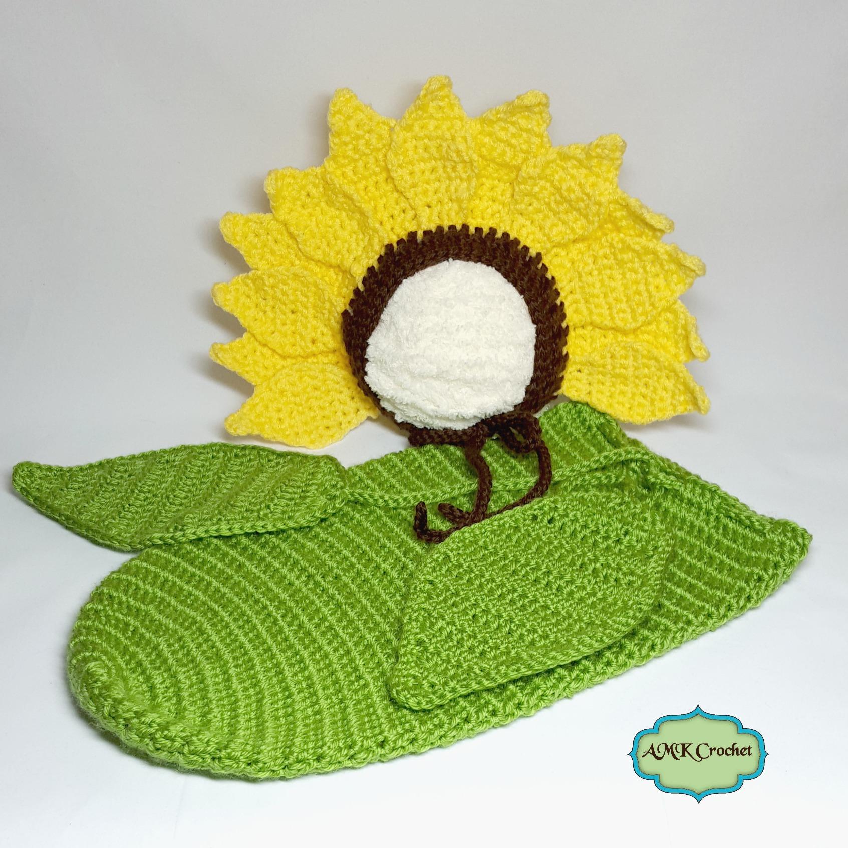 Sunflower Crochet Baby Hat Pattern : Crochet Newborn Sunflower Photo Prop Pattern AMK Crochet