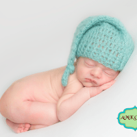 Crochet Newborn Baby Boy Sleepy Stocking Hat Pattern by AMKCrochet.com