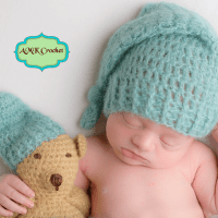 Crochet Newborn Baby Boy Sleepy Stocking Hat and Matching Amigurumi Bear Photo Prop Pattern by AMKCrochet.com