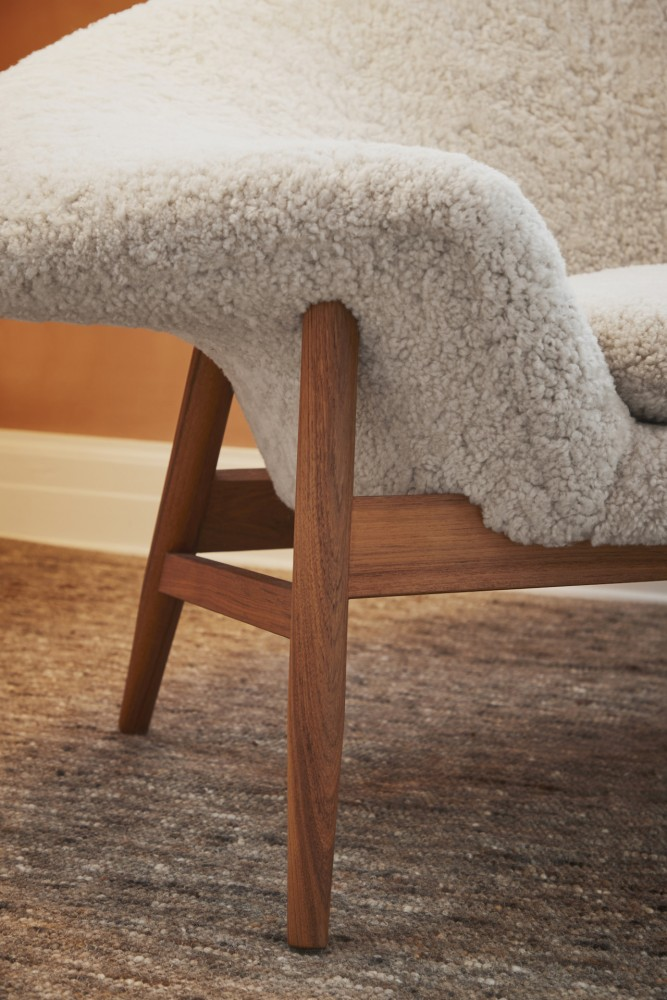 fried egg chair dining covers dunelm warm nordic brings back hans olsen s in sheepskin and the was released with approval of estate it available hand stitched moonlight white scandinavian gray