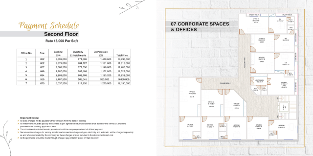 Second Floor Payment Plan & Floor Plan