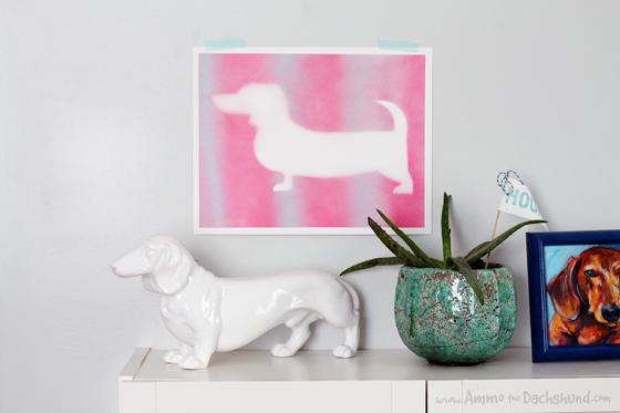 Easy DIY Spray Painted Dog Art // Ammo the Dachshund