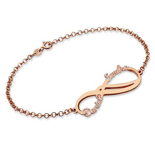 Personalized Infinity 2 Names Bracelet Rose Gold Plated