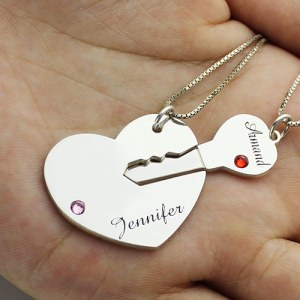 Key to My Heart Name Pendant Set For Couple Sterling Silver 925