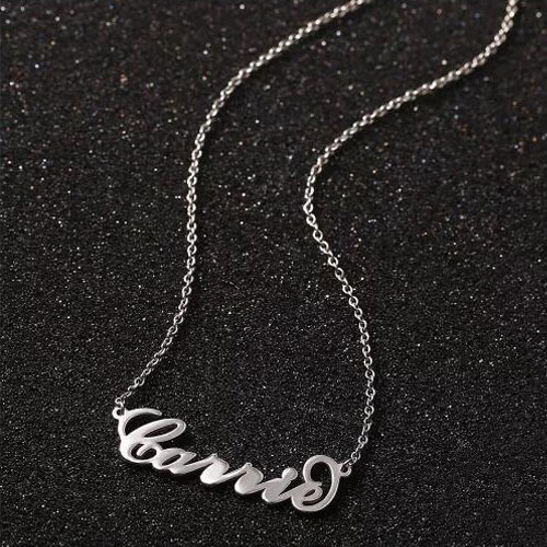 """""""Carrie"""" Style Name Necklace Silver"""