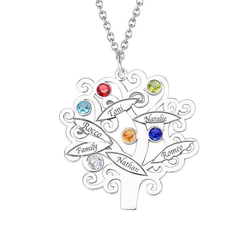 Family Tree Sterling Silver Personalized Necklace