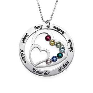 Heart in Heart Birthstone Necklace for Moms