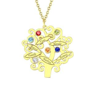 Gold Plated Family Tree Necklace with Birthstones