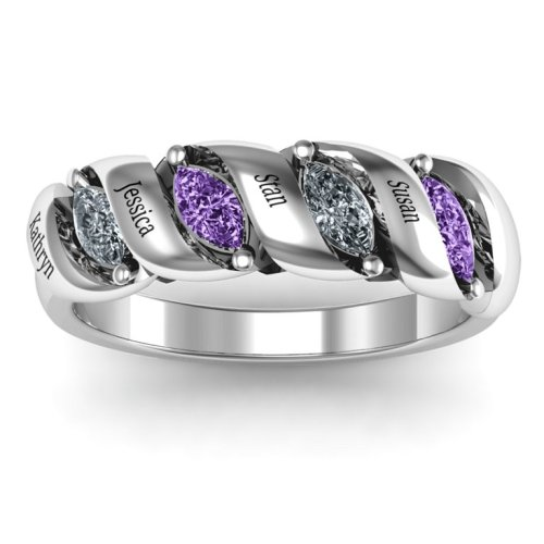 Spiral Marquise Row Ring