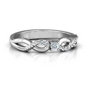 Classic Solitaire Sparkle Ring with Accented Infinity Band