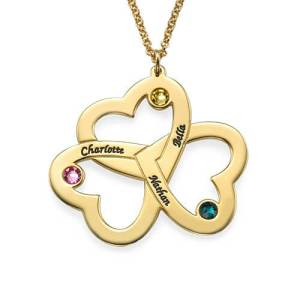 Personalized Triple Heart Necklace with Gold Plating