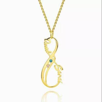 Vertical Infinity Name Necklace With Birthstones 14K Gold Plated