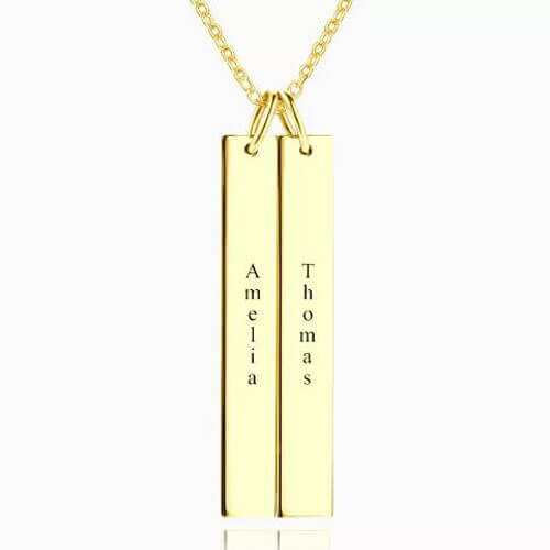 Engraved Double Bar Necklace 14k Gold Plated