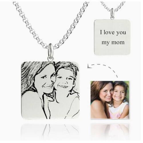 Womens Square Photo Engraved Tag Necklace With Engraving Silver