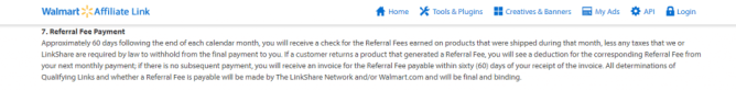 Walmart affiliate payout rules