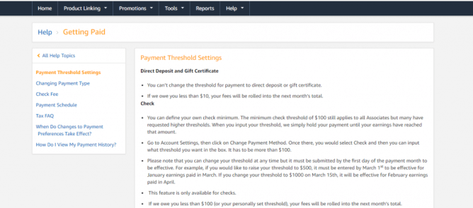 Amazon affiliate payment thresholds