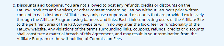 FatCow Coupons & Discounts Policy